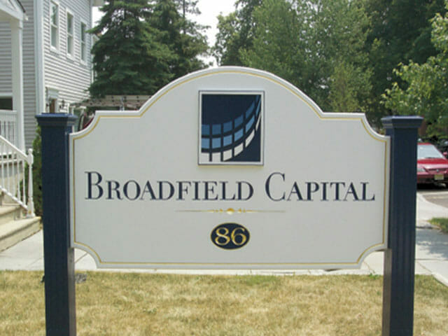 Carved Sign for Broadfield Capital