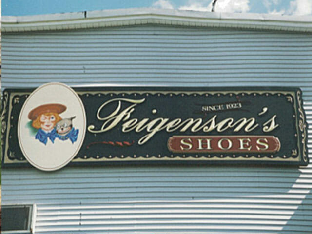Carved Sign for Feigenson's Shoes