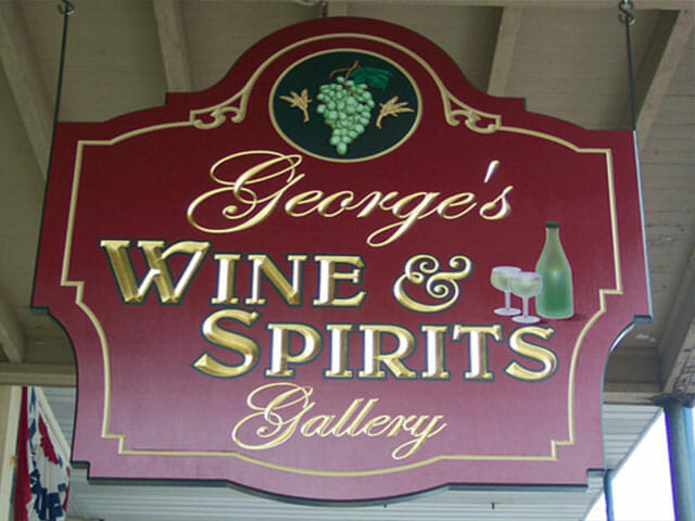 Carved Sign for George's Wine & Spirits Gallery
