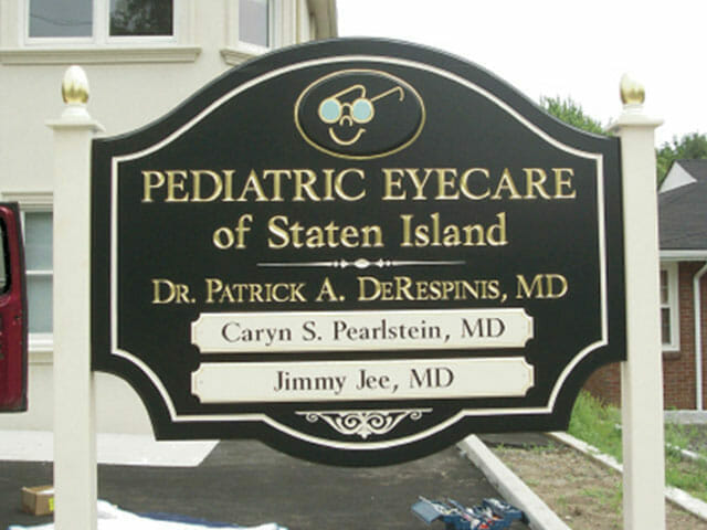 Carved Sign for Pediatric Eyecare of Staten Island