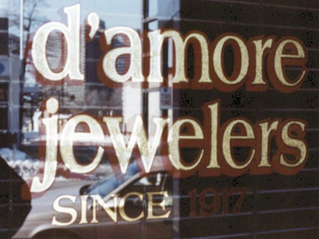 Gold Leaf Sign for D'amore Jewelers