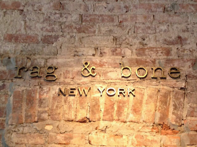 Wall Mounted Letters for Rag and Bone New York
